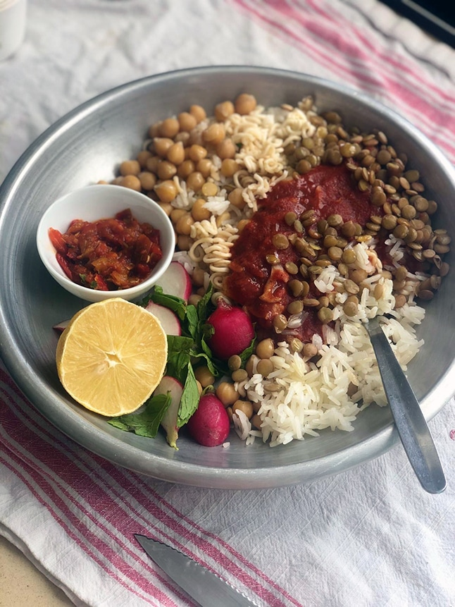 קושארי: תבשיל אורז וקטניות מהמטבח המצרי
