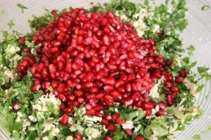 Israeli vegan recipes. pomgranade tabulleh