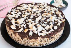 עוגת מצות טבעונית עם שני סוגי שוקולד