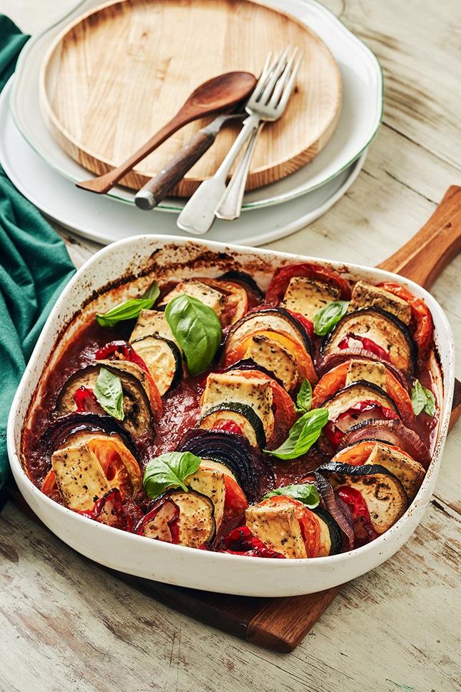 מאפה זריז של טופו וירקות בסגנון איטלקי