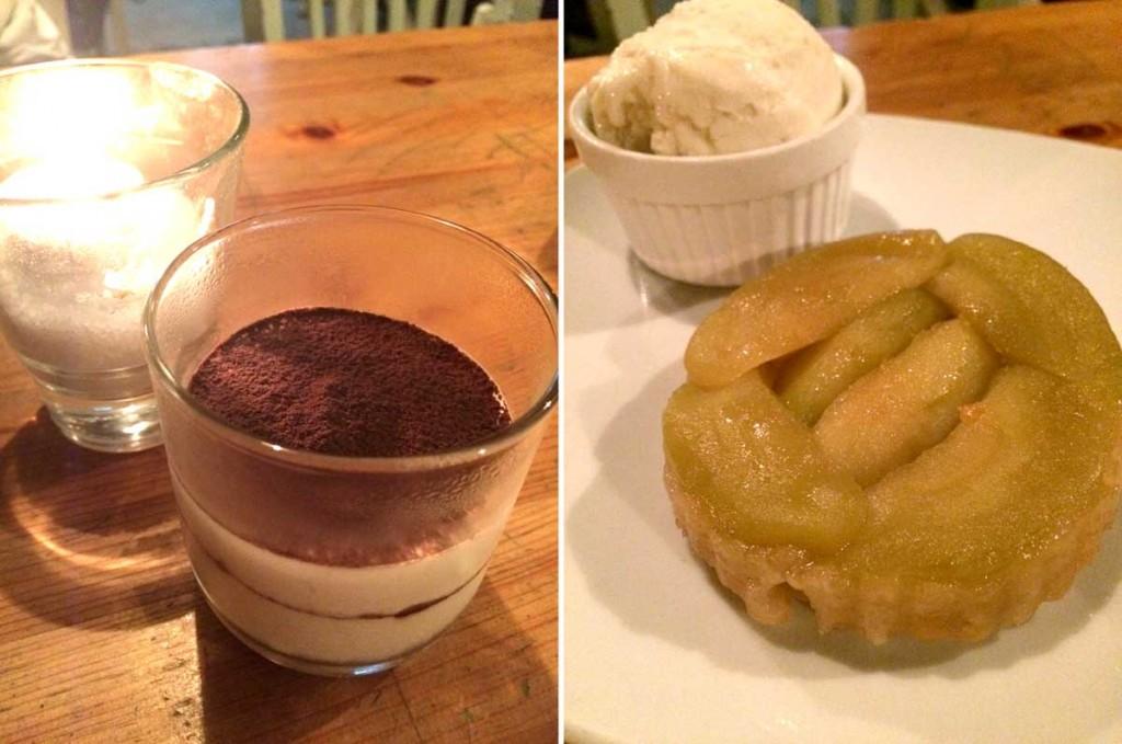 מימין - טארט טאטן תפוחים כיפי וטעים; משמאל - טירמיסו קרמי ומושחת