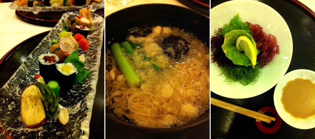 יימין: סלט אצות, מרק עם טמפורה, גינת סושי