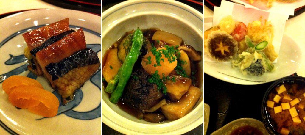 מימין: ירקות טמפורה, טופו מטוגן ופטריות, דואט של חציל ובמבוק