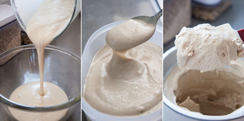 משמאל לימין: הבלילה הבסיסית, אחרי קירור במקרר, אחרי מכונת גלידה