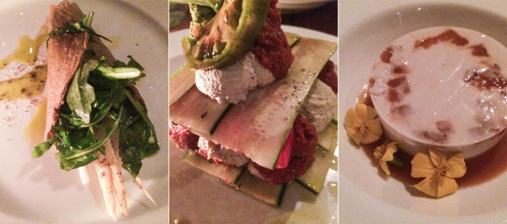 משמאל לימין: קרפ במילוי אספרגוס, לזניה זוקיני ועגבניות, פנה קוטה אפרסק. תענוגות האוכל הנא